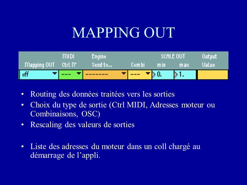 MAPPING OUT Routing des données traitées vers les sorties Choix du type de sortie (Ctrl MIDI, Adresses moteur ou Combinaisons, OSC) Rescaling des valeurs de sorties Liste des adresses du moteur dans un coll chargé au démarrage de lappli.