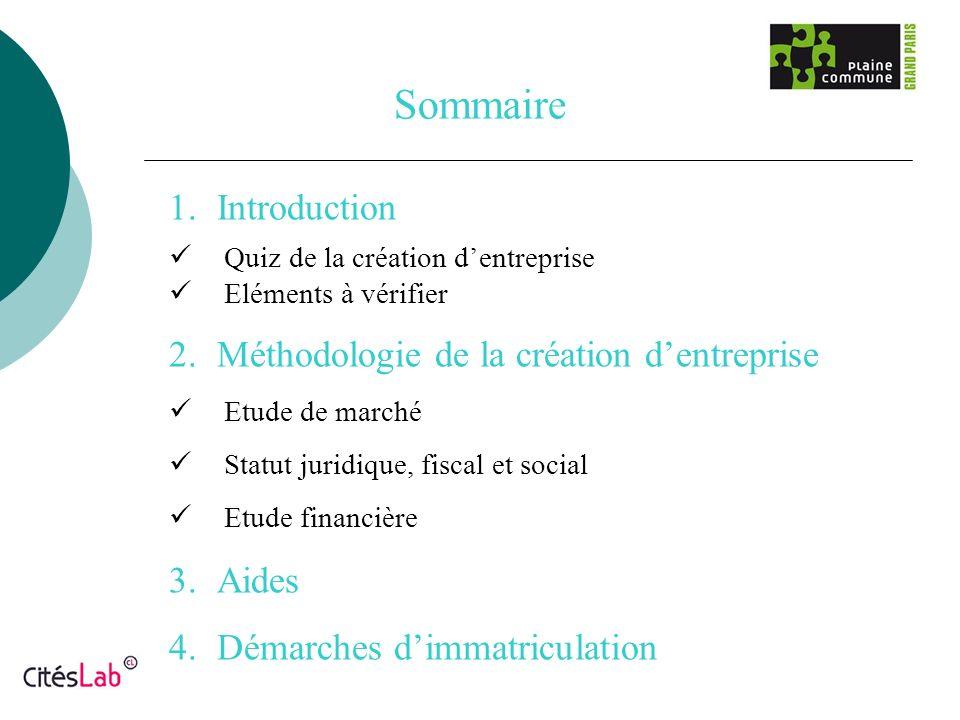 Sommaire 1.Introduction Quiz de la création dentreprise Eléments à vérifier 2.Méthodologie de la création dentreprise Etude de marché Statut juridique