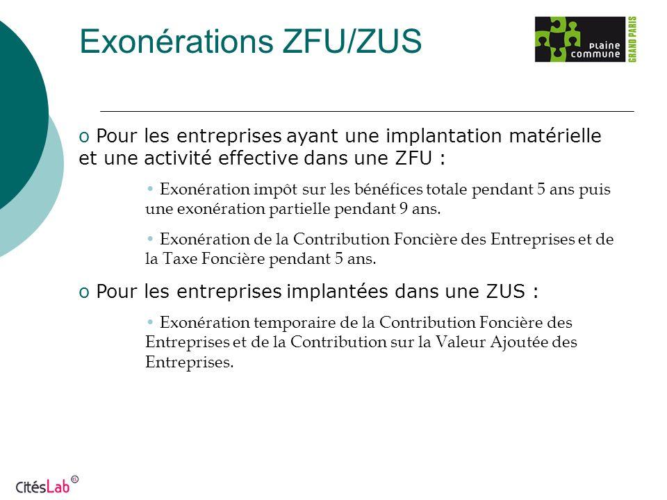 Exonérations ZFU/ZUS o Pour les entreprises ayant une implantation matérielle et une activité effective dans une ZFU : Exonération impôt sur les bénéf