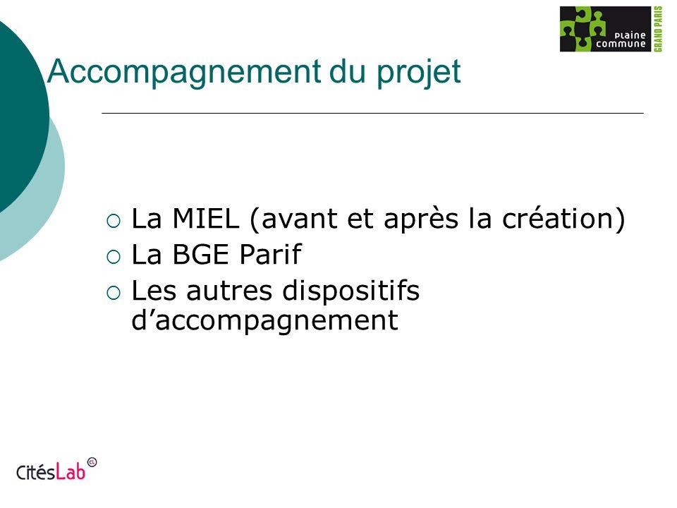Accompagnement du projet La MIEL (avant et après la création) La BGE Parif Les autres dispositifs daccompagnement