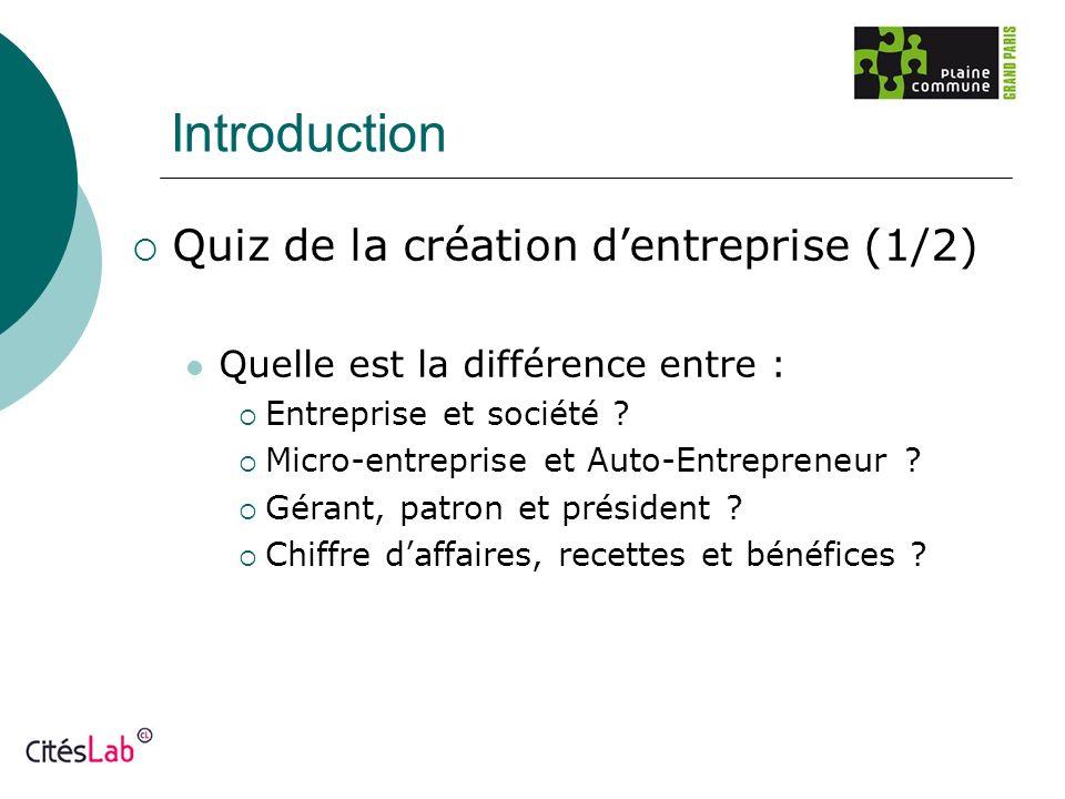 Introduction Quiz de la création dentreprise (1/2) Quelle est la différence entre : Entreprise et société ? Micro-entreprise et Auto-Entrepreneur ? Gé