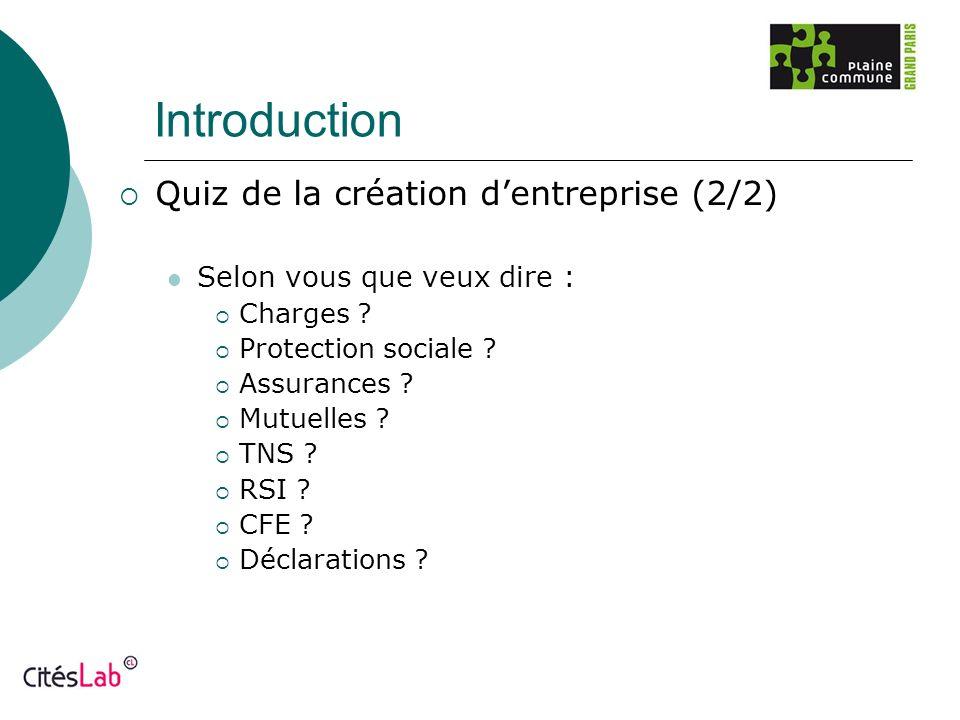 Introduction Quiz de la création dentreprise (2/2) Selon vous que veux dire : Charges ? Protection sociale ? Assurances ? Mutuelles ? TNS ? RSI ? CFE