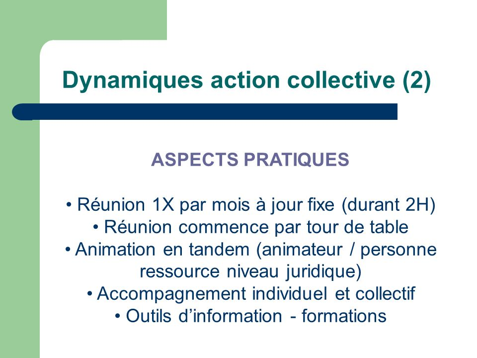 Dynamiques action collective (2) ASPECTS PRATIQUES Réunion 1X par mois à jour fixe (durant 2H) Réunion commence par tour de table Animation en tandem