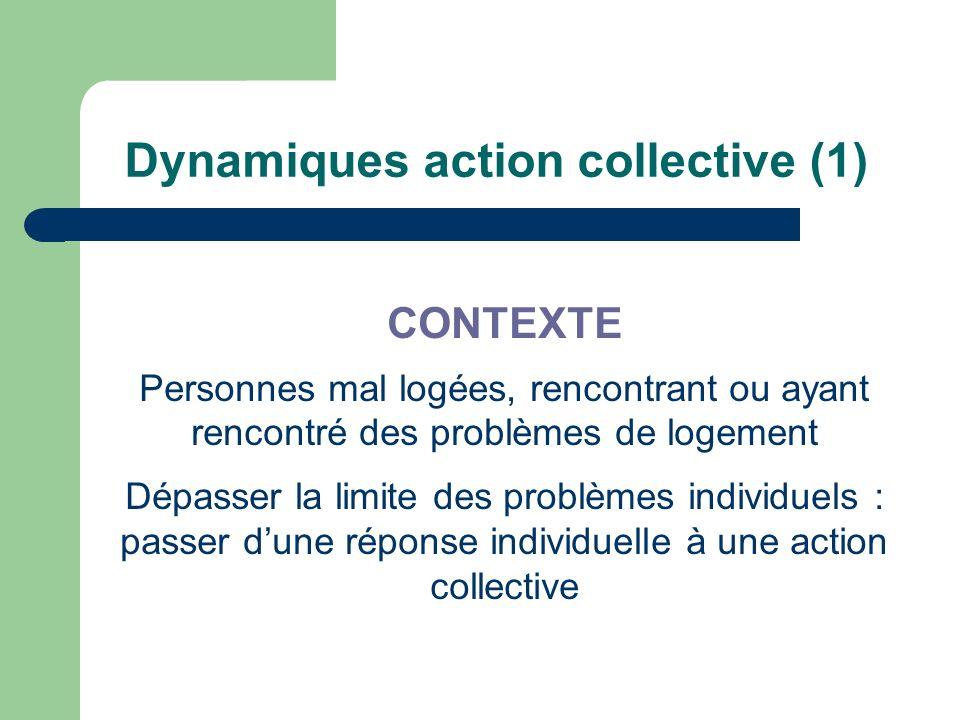 Dynamiques action collective (1) CONTEXTE Personnes mal logées, rencontrant ou ayant rencontré des problèmes de logement Dépasser la limite des problè