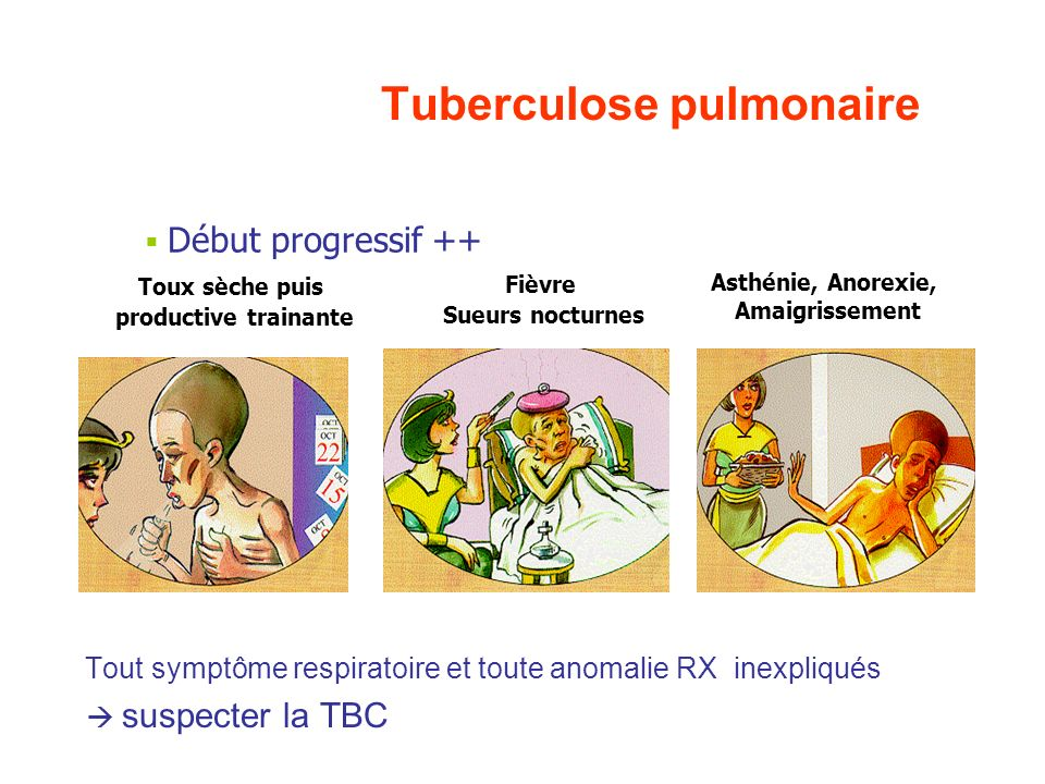 Inhalation de M.tuberculosis Primo-infection Asymptomatique (95 %) Infection latente Immunité cellulaire Pas de maladie 90% Tuberculose aiguë (5%) Tub