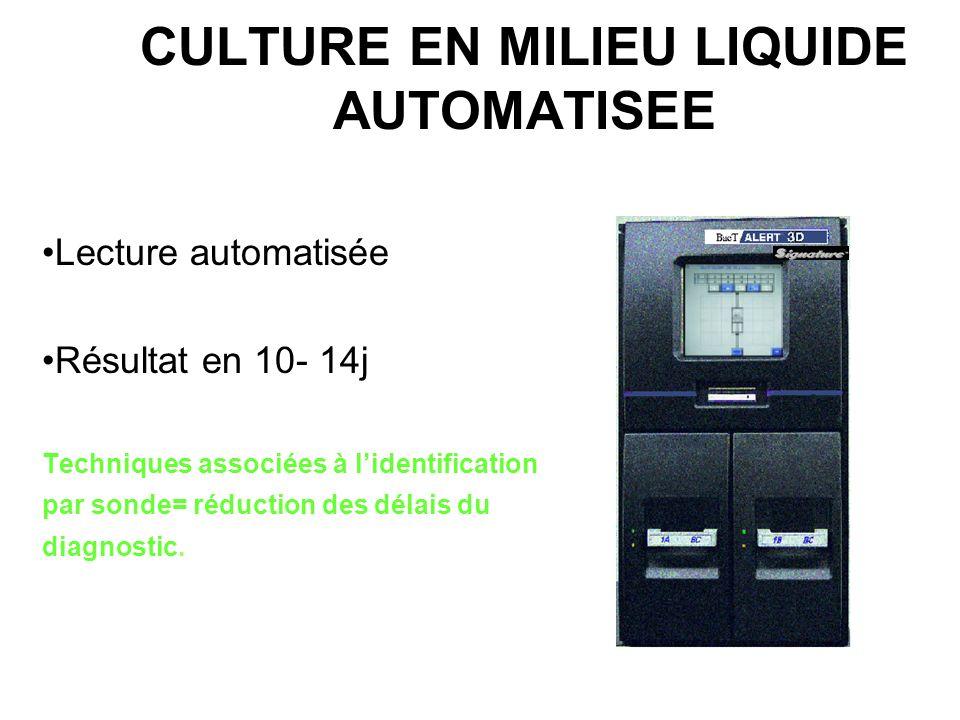 CULTURE EN MILIEU LIQUIDE AUTOMATISEE BacT \Alert (BioMérieux): mesure colorimétrique/CO2 BACTEC-MGIT(BD): Détection dun complexe fluorescent après ré