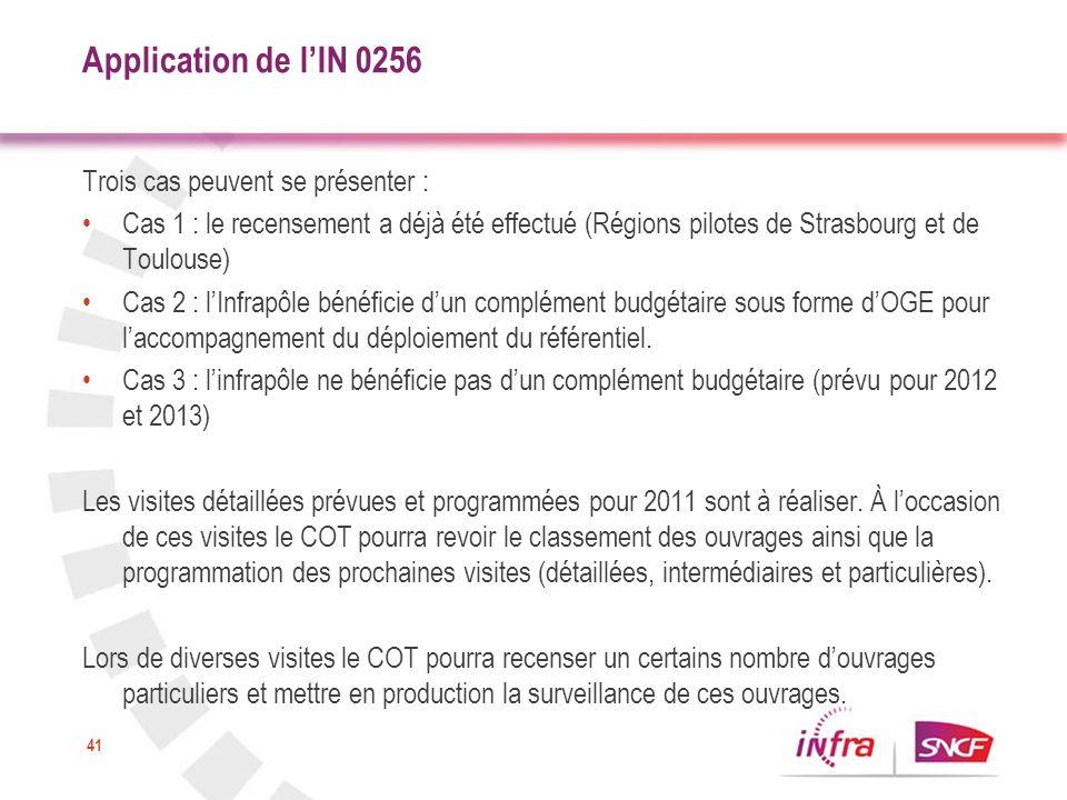 41 Application de lIN 0256 Trois cas peuvent se présenter : Cas 1 : le recensement a déjà été effectué (Régions pilotes de Strasbourg et de Toulouse)
