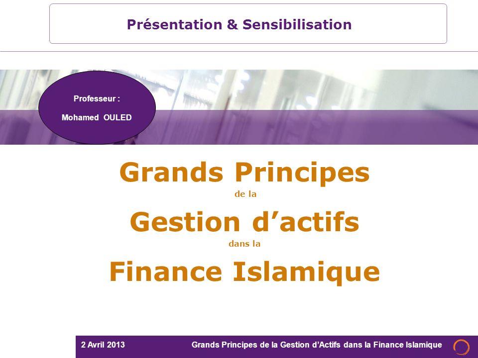 2 Avril 2013 Grands Principes de la Gestion dActifs dans la Finance Islamique Mohamed OULED 12 2.