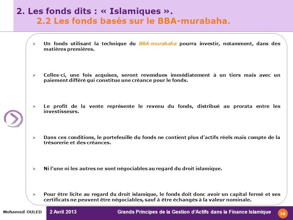 2 Avril 2013 Grands Principes de la Gestion dActifs dans la Finance Islamique Mohamed OULED 10 2. Les fonds dits : « Islamiques ». 2.2 Les fonds basés