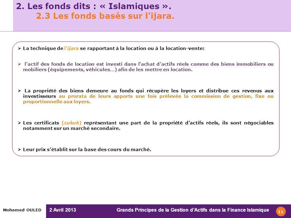 2 Avril 2013 Grands Principes de la Gestion dActifs dans la Finance Islamique Mohamed OULED 2. Les fonds dits : « Islamiques ». 2.3 Les fonds basés su