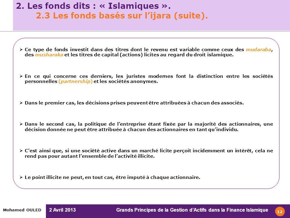 2 Avril 2013 Grands Principes de la Gestion dActifs dans la Finance Islamique Mohamed OULED 12 2. Les fonds dits : « Islamiques ». 2.3 Les fonds basés