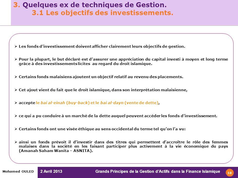 2 Avril 2013 Grands Principes de la Gestion dActifs dans la Finance Islamique Mohamed OULED 3. Quelques ex de techniques de Gestion. 3.1 Les objectifs