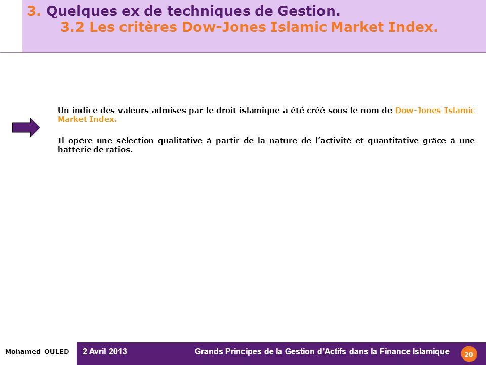 2 Avril 2013 Grands Principes de la Gestion dActifs dans la Finance Islamique Mohamed OULED 3. Quelques ex de techniques de Gestion. 3.2 Les critères
