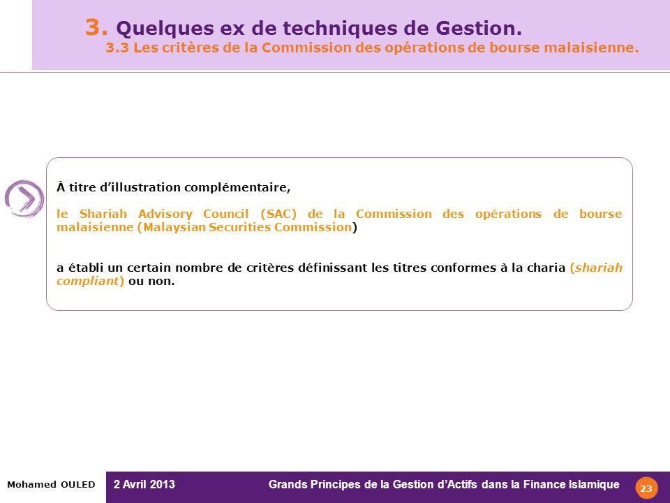 2 Avril 2013 Grands Principes de la Gestion dActifs dans la Finance Islamique Mohamed OULED 3. Quelques ex de techniques de Gestion. 3.3 Les critères