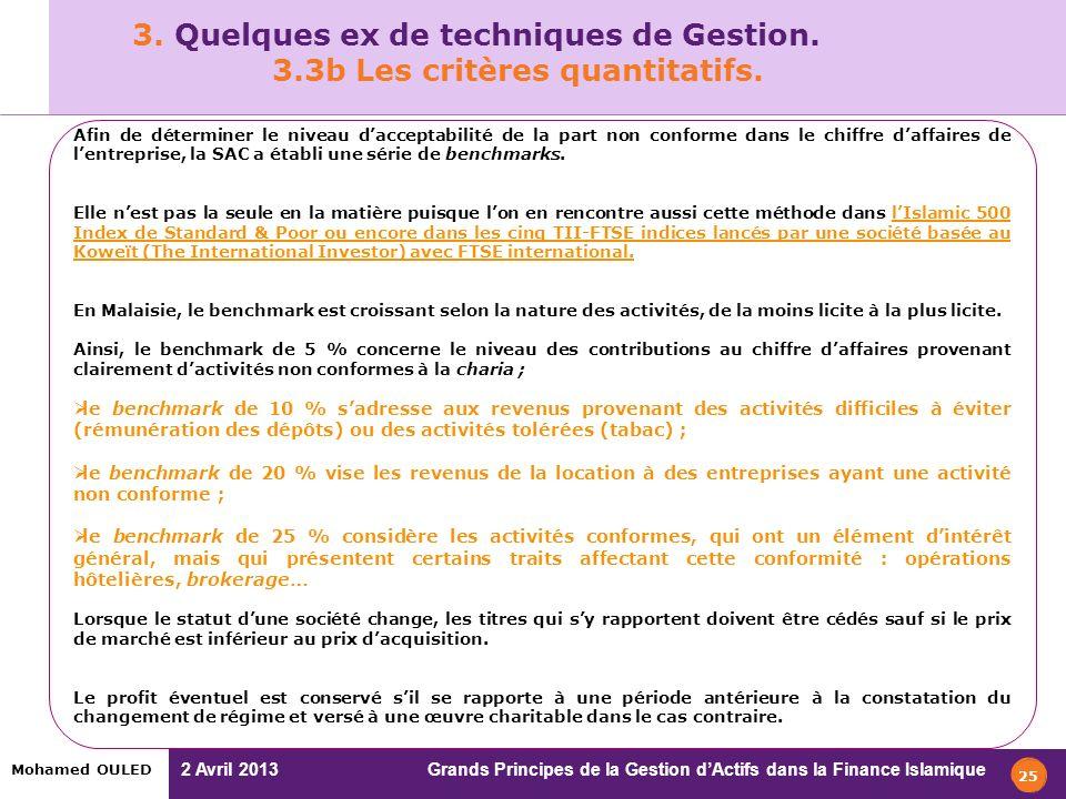 2 Avril 2013 Grands Principes de la Gestion dActifs dans la Finance Islamique Mohamed OULED 25 Afin de déterminer le niveau dacceptabilité de la part