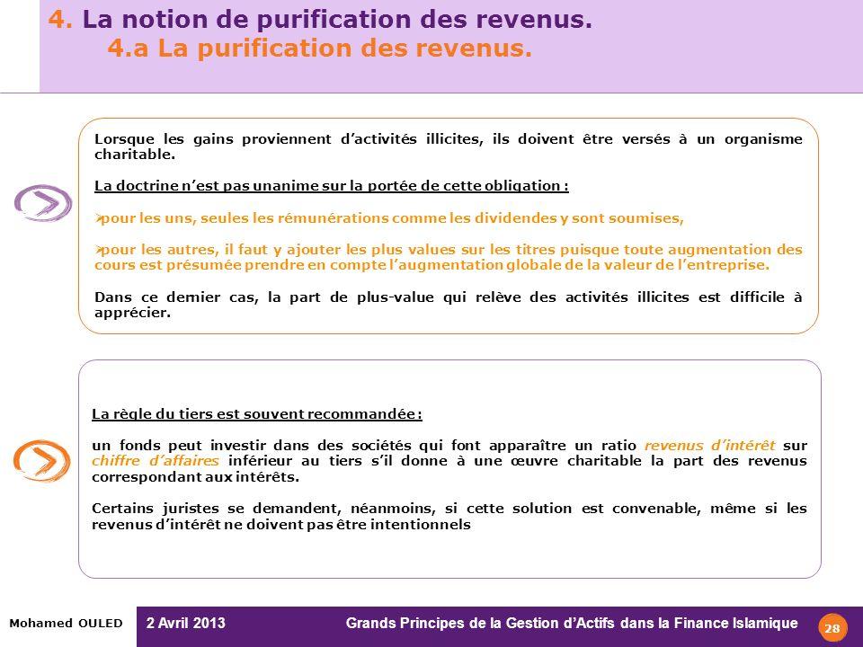 2 Avril 2013 Grands Principes de la Gestion dActifs dans la Finance Islamique Mohamed OULED 4. La notion de purification des revenus. 4.a La purificat