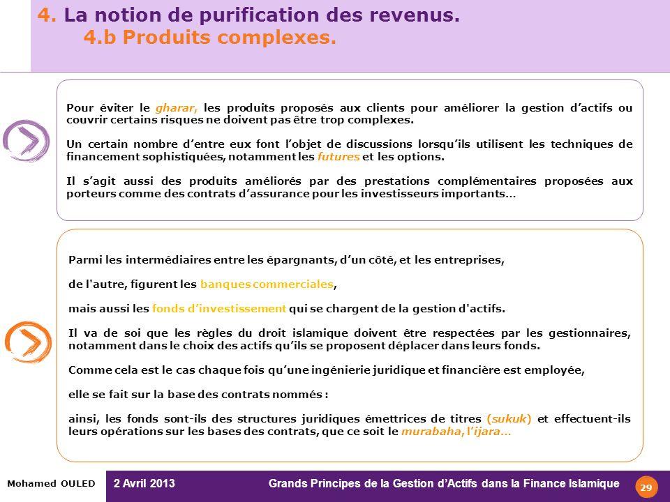 2 Avril 2013 Grands Principes de la Gestion dActifs dans la Finance Islamique Mohamed OULED 4. La notion de purification des revenus. 4.b Produits com