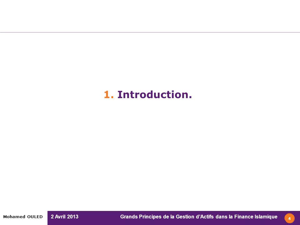 2 Avril 2013 Grands Principes de la Gestion dActifs dans la Finance Islamique Mohamed OULED 1. Introduction. 4
