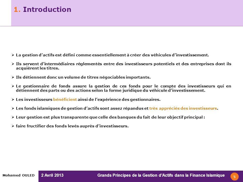 2 Avril 2013 Grands Principes de la Gestion dActifs dans la Finance Islamique Mohamed OULED 1. Introduction 5 La gestion dactifs est défini comme esse