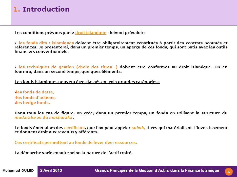 2 Avril 2013 Grands Principes de la Gestion dActifs dans la Finance Islamique Mohamed OULED Sommaire 1.