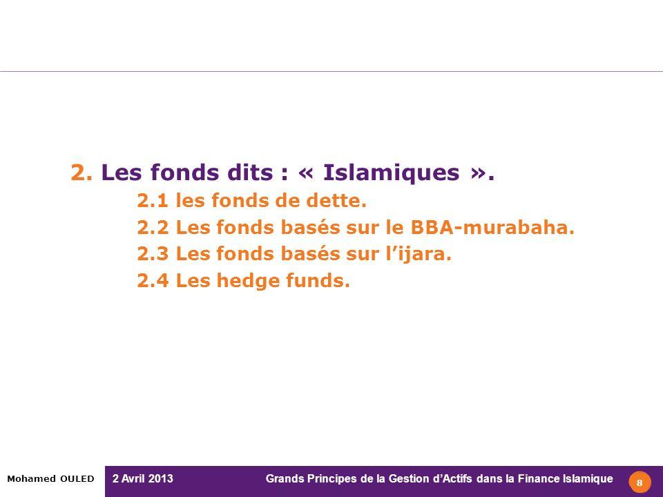2 Avril 2013 Grands Principes de la Gestion dActifs dans la Finance Islamique Mohamed OULED 2. Les fonds dits : « Islamiques ». 2.1 les fonds de dette