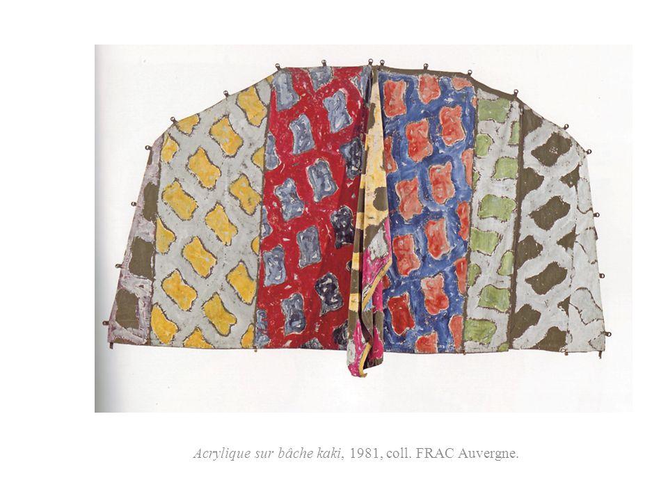 Acrylique sur bâche kaki, 1981, coll. FRAC Auvergne.