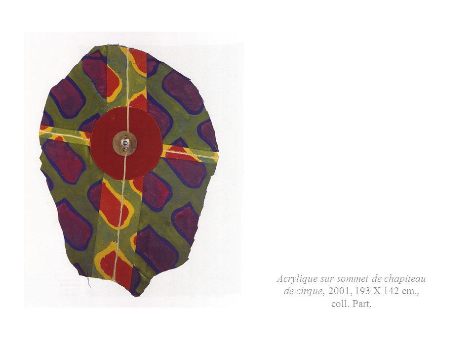 Acrylique sur sommet de chapiteau de cirque, 2001, 193 X 142 cm., coll. Part.