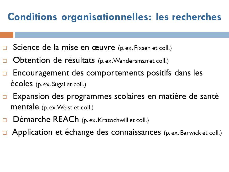 Conditions organisationnelles: les recherches Science de la mise en œuvre (p.