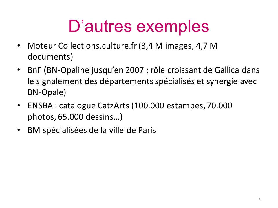 Problématiques iconographiques ISBD(NBM) (1977) et norme AFNOR Z44-077 (1998) Formats – des adaptations en Marc, EAD, DC – aux Etats-Unis : pratiques de catalogage CCO (Cataloging Cultural Objects) Commons, à la source des schémas VRA Core (Visual Resource Association), CDWA – LIDO (œuvres dart) Indexations iconographiques : thésaurus Garnier (iconographie ancienne, ex.