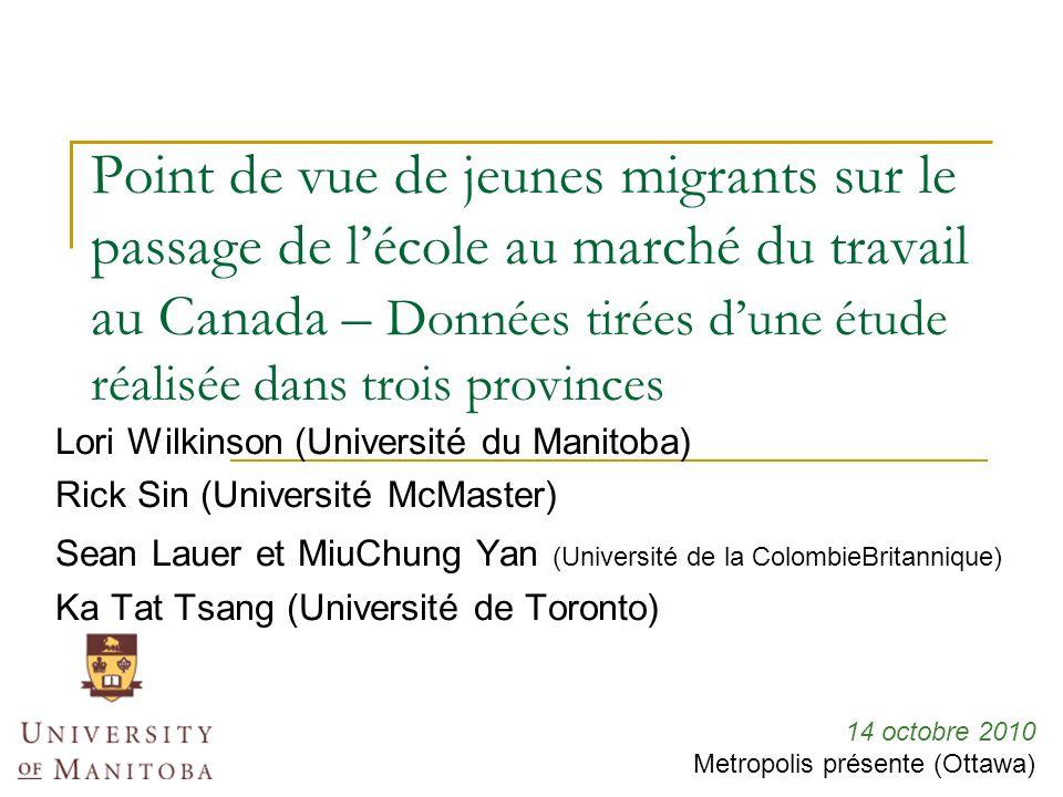 Point de vue de jeunes migrants sur le passage de lécole au marché du travail au Canada – Données tirées dune étude réalisée dans trois provinces Lori Wilkinson (Université du Manitoba) Rick Sin (Université McMaster) Sean Lauer et MiuChung Yan (Université de la ColombieBritannique) Ka Tat Tsang (Université de Toronto) 14 octobre 2010 Metropolis présente (Ottawa)