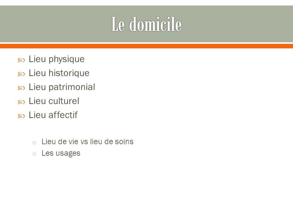 Lieu physique Lieu historique Lieu patrimonial Lieu culturel Lieu affectif o Lieu de vie vs lieu de soins o Les usages