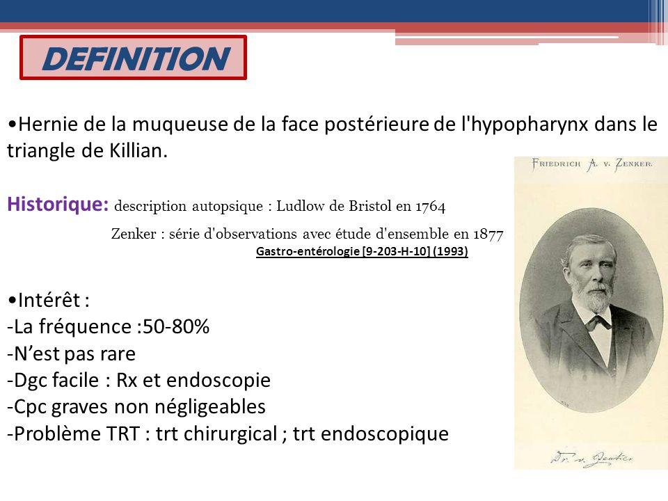 DEFINITION Hernie de la muqueuse de la face postérieure de l'hypopharynx dans le triangle de Killian. Historique: description autopsique : Ludlow de B