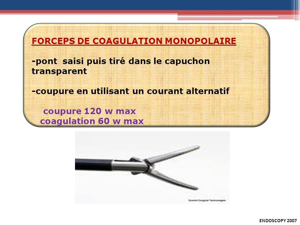 FORCEPS DE COAGULATION MONOPOLAIRE -pont saisi puis tiré dans le capuchon transparent -coupure en utilisant un courant alternatif coupure 120 w max co