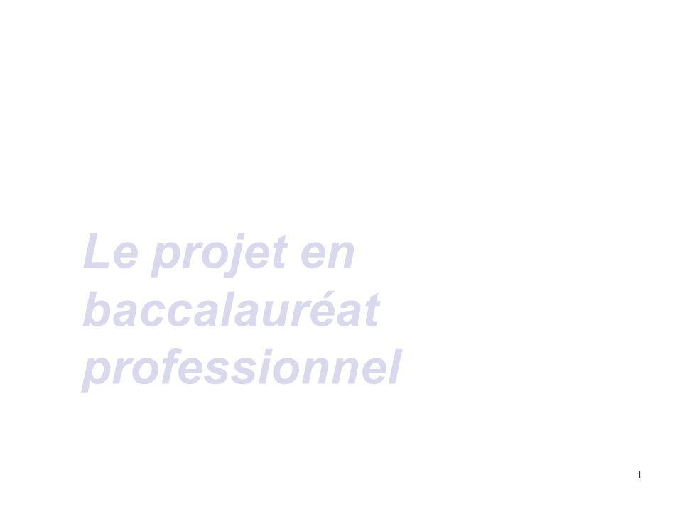 1 Le projet en baccalauréat professionnel