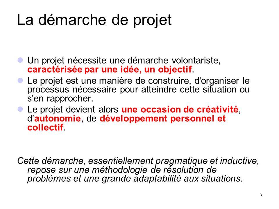 La démarche de projet Un projet nécessite une démarche volontariste, caractérisée par une idée, un objectif.