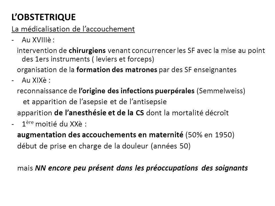 Les 1ères approches des soins aux NN (fin XIXè – début XXè) réalisées par Tarnier, fondateur de lobstétrique moderne à la maternité de Port-Royal, et son élève Budin, avec -le début des soins adaptés aux prématurés méfaits de lhypothermie : création des 1ères couveuses limportance dune alimentation orale par sonde gastrique - la création des 1ères consultations de nourrissons Les 1ères connaissances sur le fœtus -prélèvement du LA (1930) : Liley (1960) immunisation Rhésus Liggins et Howie (1972) rapport L/S -enregistrement du RCF (Calderon Barcia 1950) diagnostic dune SFA -mesure Ph au scalp du fœtus (Saling 1961) -caryotype sur fibroblastes fœtaux (1970) - accès direct aux vaisseaux ombilicaux: ponction de sang fœtal (Daffos 1978)