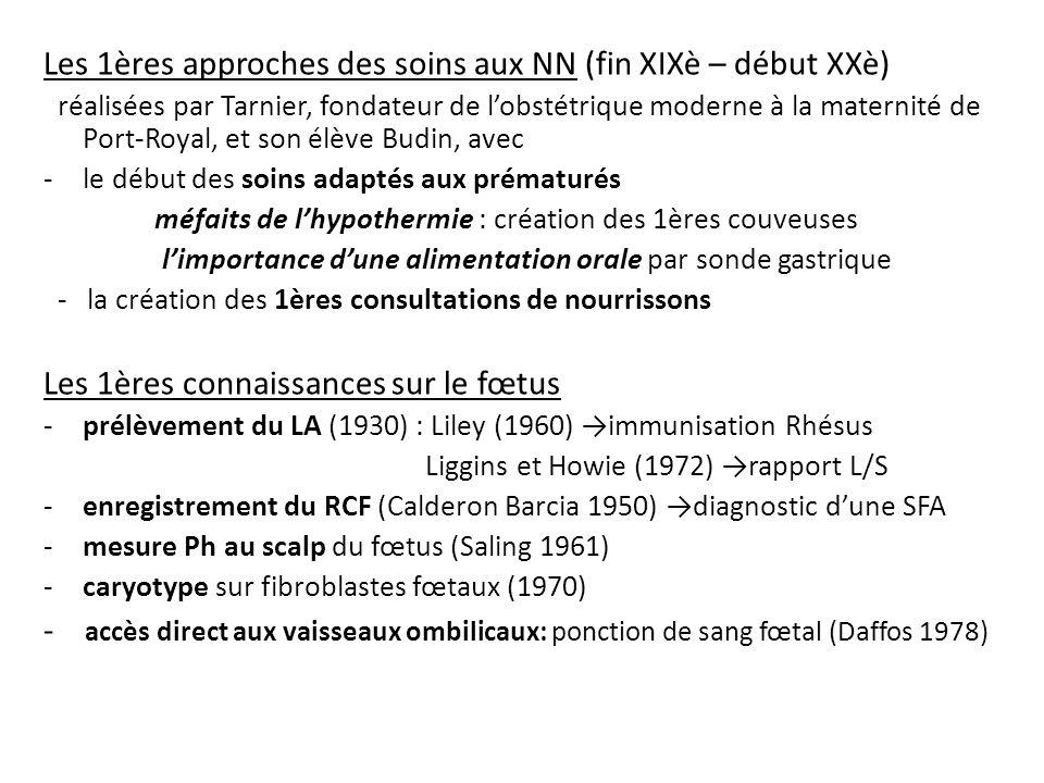 Léchographie obstétricale(1975-1980) Etude de lAnatomie fœtale Exploration des flux sanguins par vélocimétrie Doppler Sécurisation des amniocentèses Abord vasculaire du fœtus : prélèvements, transfusions, injection de médicaments… Lémergence dune médecine fœtale et périnatale -Prise en charge anténatale de limmunisation Rhésus par ladministration dimmunoglobulines anti D (1968) -Diagnostic et prise en charge périnatale des malformations fœtales -Prévention de lasphyxie périnatale par létude du RCF et du Ph au scalp - Premiers accouchements prématurés provoqués dindication fœtale Naissance de la médecine périnatale au cours de la décennie 1970-1980 issue du courant obstétrical
