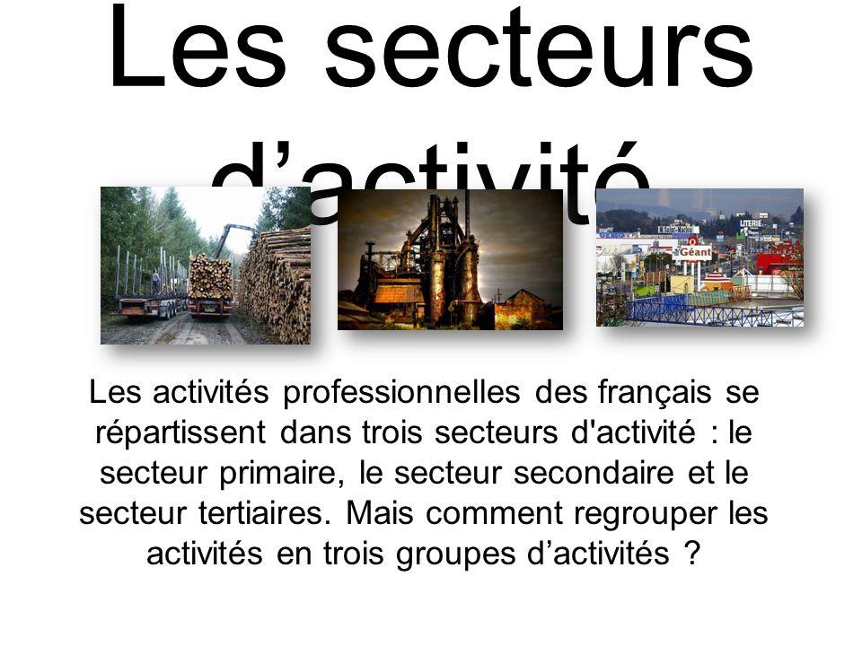 Les secteurs dactivité Les activités professionnelles des français se répartissent dans trois secteurs d'activité : le secteur primaire, le secteur se