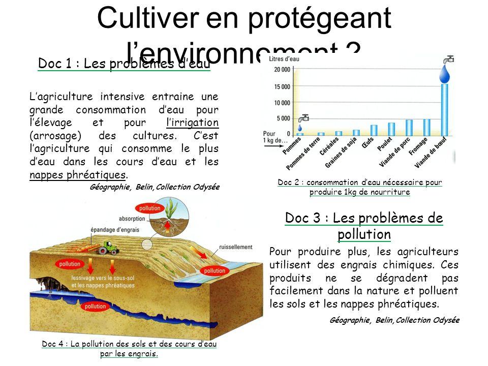 Cultiver en protégeant lenvironnement ? Doc 1 : Les problèmes deau Lagriculture intensive entraine une grande consommation deau pour lélevage et pour