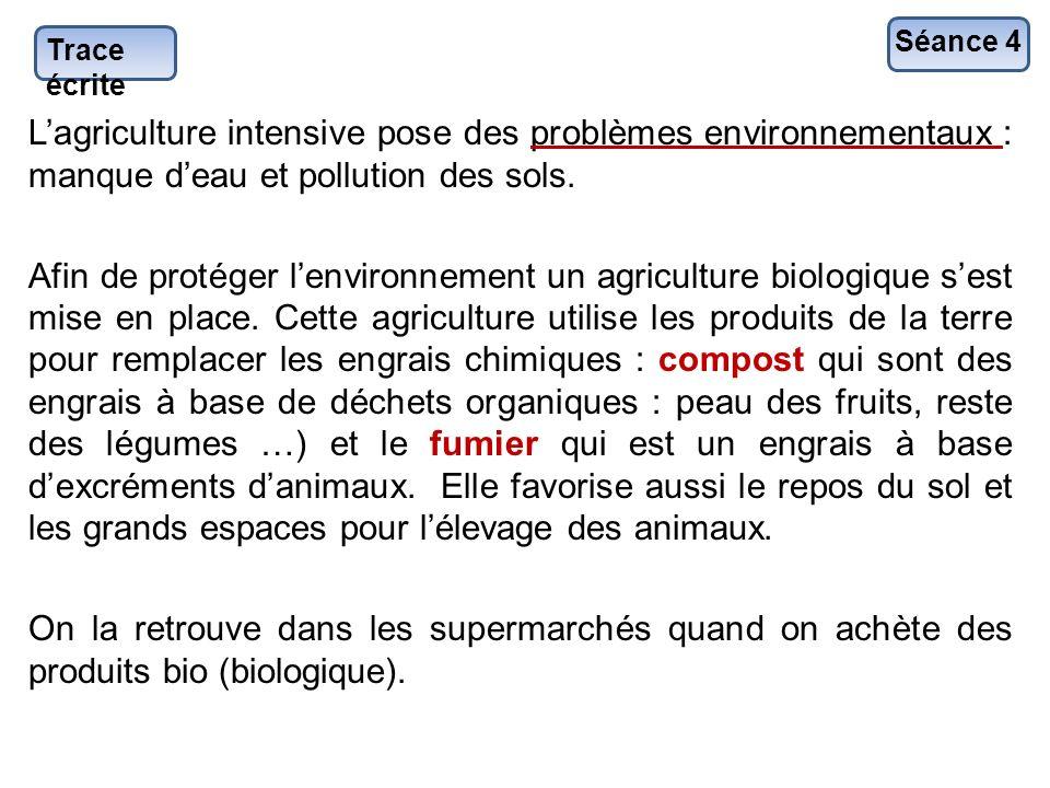 Trace écrite Lagriculture intensive pose des problèmes environnementaux : manque deau et pollution des sols. Afin de protéger lenvironnement un agricu
