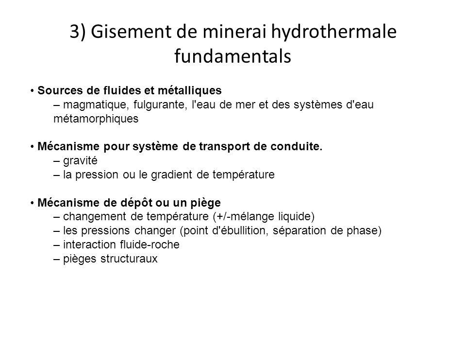 3) Gisement de minerai hydrothermale fundamentals Sources de fluides et métalliques – magmatique, fulgurante, l eau de mer et des systèmes d eau métamorphiques Mécanisme pour système de transport de conduite.