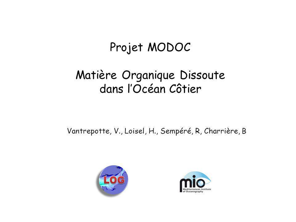 Projet MODOC Matière Organique Dissoute dans lOcéan Côtier Vantrepotte, V., Loisel, H., Sempéré, R, Charrière, B