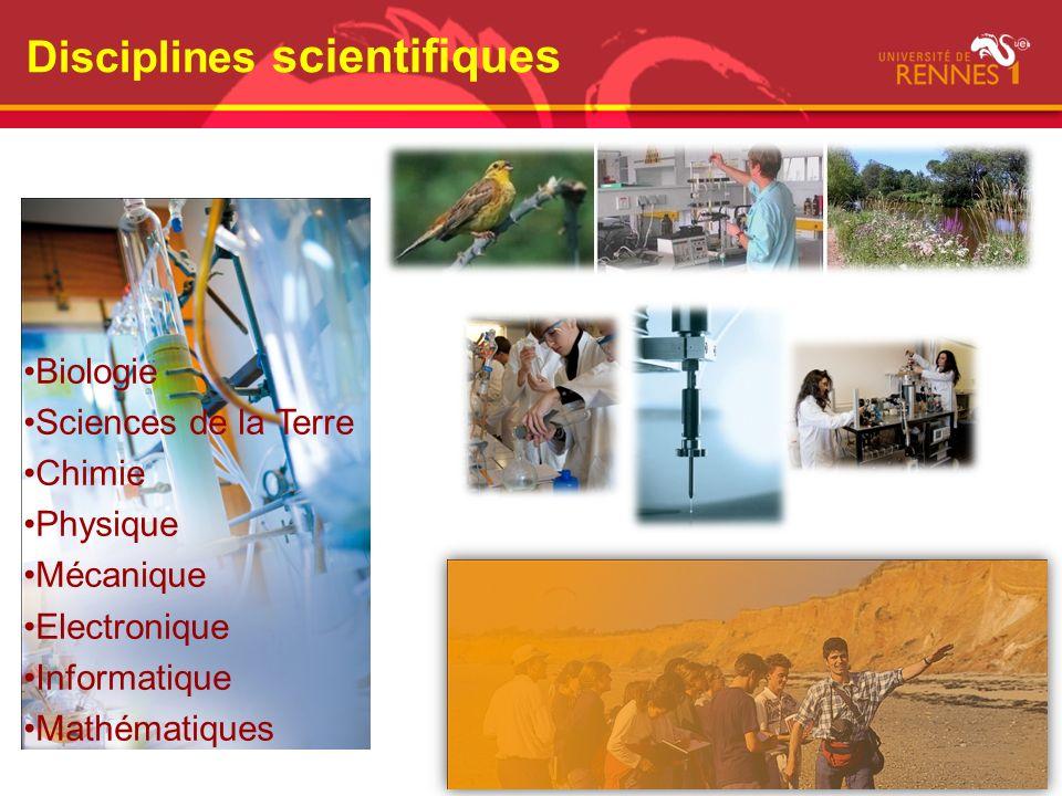 Disciplines scientifiques Biologie Sciences de la Terre Chimie Physique Mécanique Electronique Informatique Mathématiques