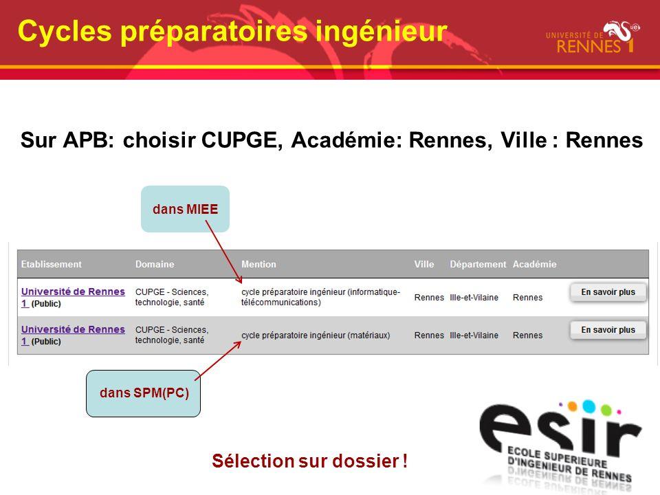 Cycles préparatoires ingénieur Sur APB: choisir CUPGE, Académie: Rennes, Ville : Rennes Sélection sur dossier ! dans MIEE dans SPM(PC)