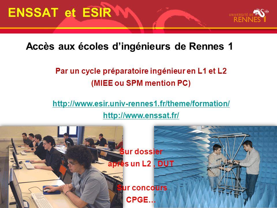 Accès aux écoles dingénieurs de Rennes 1 ENSSAT et ESIR Par un cycle préparatoire ingénieur en L1 et L2 (MIEE ou SPM mention PC) http://www.esir.univ-