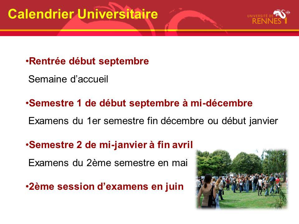 Calendrier Universitaire Rentrée début septembre Semaine daccueil Semestre 1 de début septembre à mi-décembre Examens du 1er semestre fin décembre ou