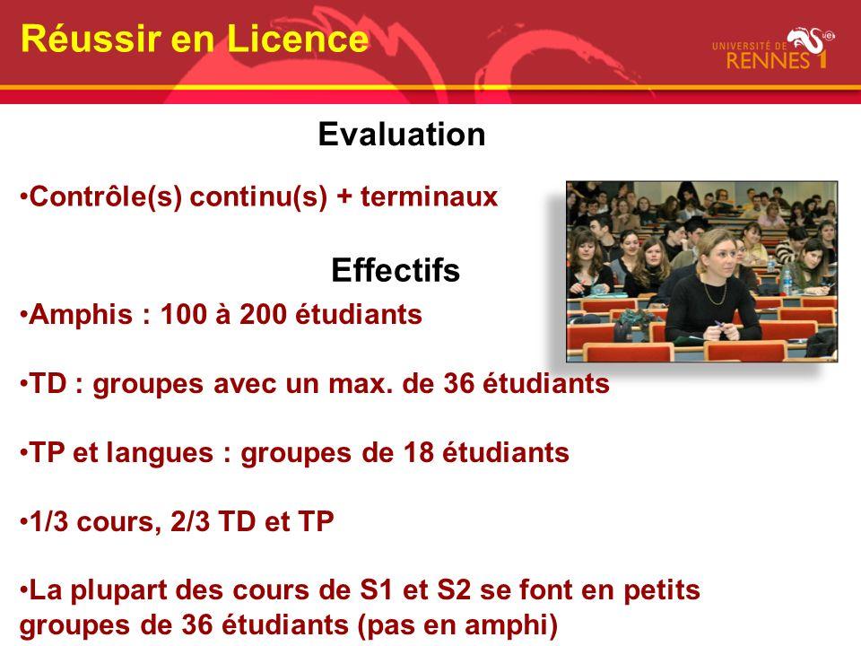 Effectifs Amphis : 100 à 200 étudiants TD : groupes avec un max. de 36 étudiants TP et langues : groupes de 18 étudiants 1/3 cours, 2/3 TD et TP La pl