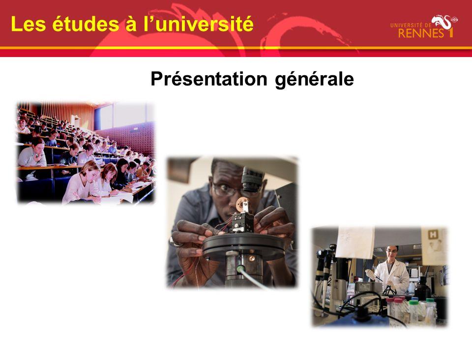 Les études à luniversité Présentation générale