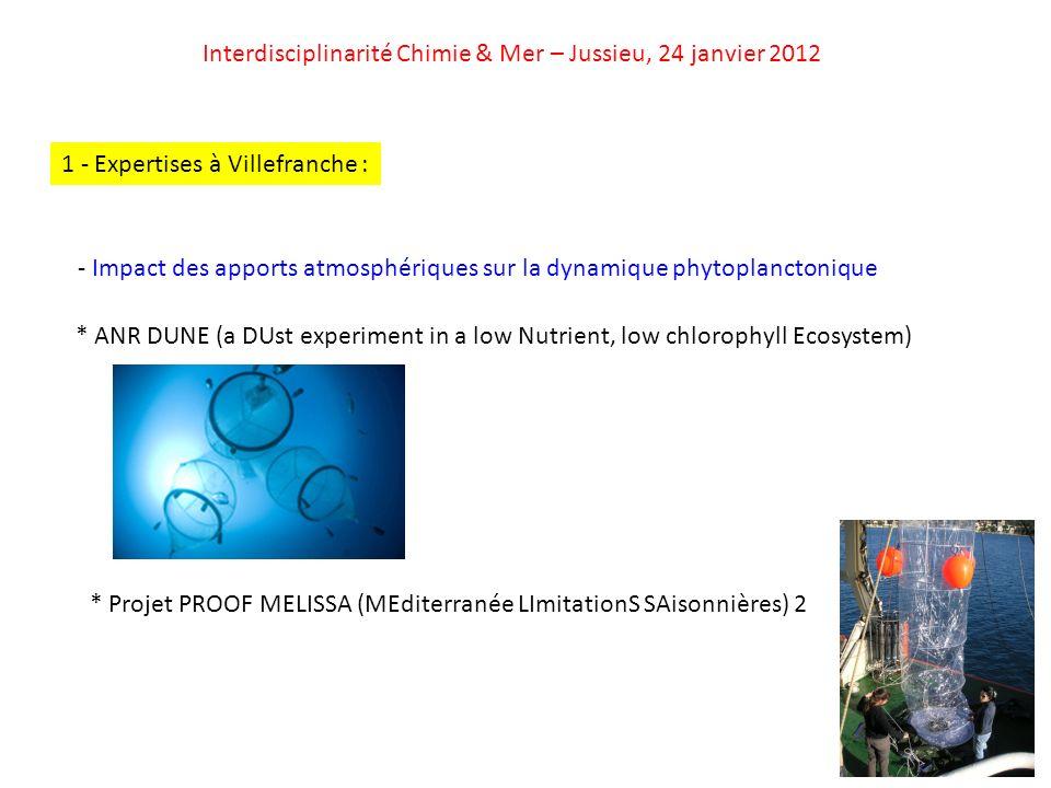 Interdisciplinarité Chimie & Mer – Jussieu, 24 janvier 2012 - Acidification des océans * EPOCA (European Project on Ocean Acidification) 1 - Expertises à Villefranche : - Transfert vertical de la matière / Flux exportés * Projet LEFE COMET (COnstructing MEditerranean Time-series) Lien avec les physiciens (contrôle physique des épisodes de convection hivernale PP Dynamique des flux de masse) * Projet DYCOMED (DYnamique des COntaminants en MEDiterranée), rattaché au programme MEDICIS (IFREMER) Etude « verticale » en Méditerranée nord-occidentale (de latmosphère au sédiment)