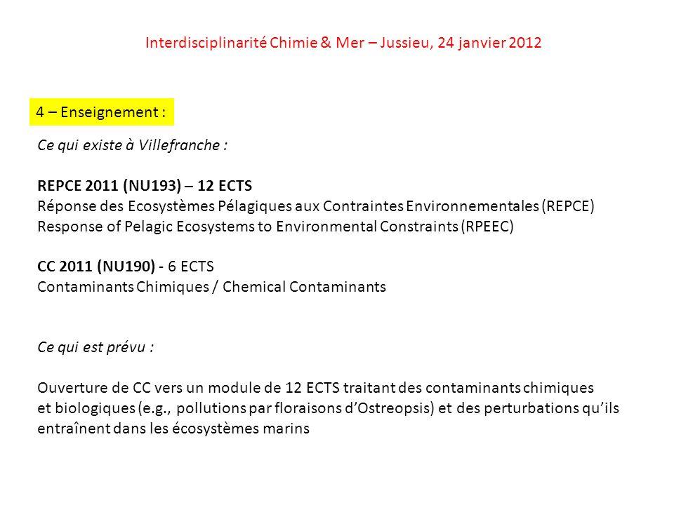 Interdisciplinarité Chimie & Mer – Jussieu, 24 janvier 2012 4 – Enseignement : Ce qui existe à Villefranche : REPCE 2011 (NU193) – 12 ECTS Réponse des Ecosystèmes Pélagiques aux Contraintes Environnementales (REPCE) Response of Pelagic Ecosystems to Environmental Constraints (RPEEC) CC 2011 (NU190) - 6 ECTS Contaminants Chimiques / Chemical Contaminants Ce qui est prévu : Ouverture de CC vers un module de 12 ECTS traitant des contaminants chimiques et biologiques (e.g., pollutions par floraisons dOstreopsis) et des perturbations quils entraînent dans les écosystèmes marins